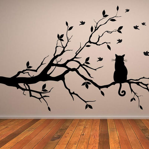 cutecatslovers Cat On The Tree Branch Wall Sticker Plus Birds