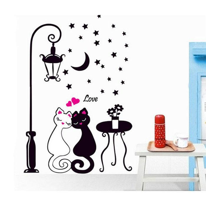 cutecatslovers Cat Wall Sticker For Kids Room With Lamp and Butterflies Stickers Decor