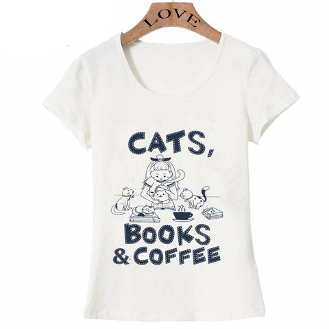 cutecatslovers Cats, Books & Coffe Trendy T-Shirt