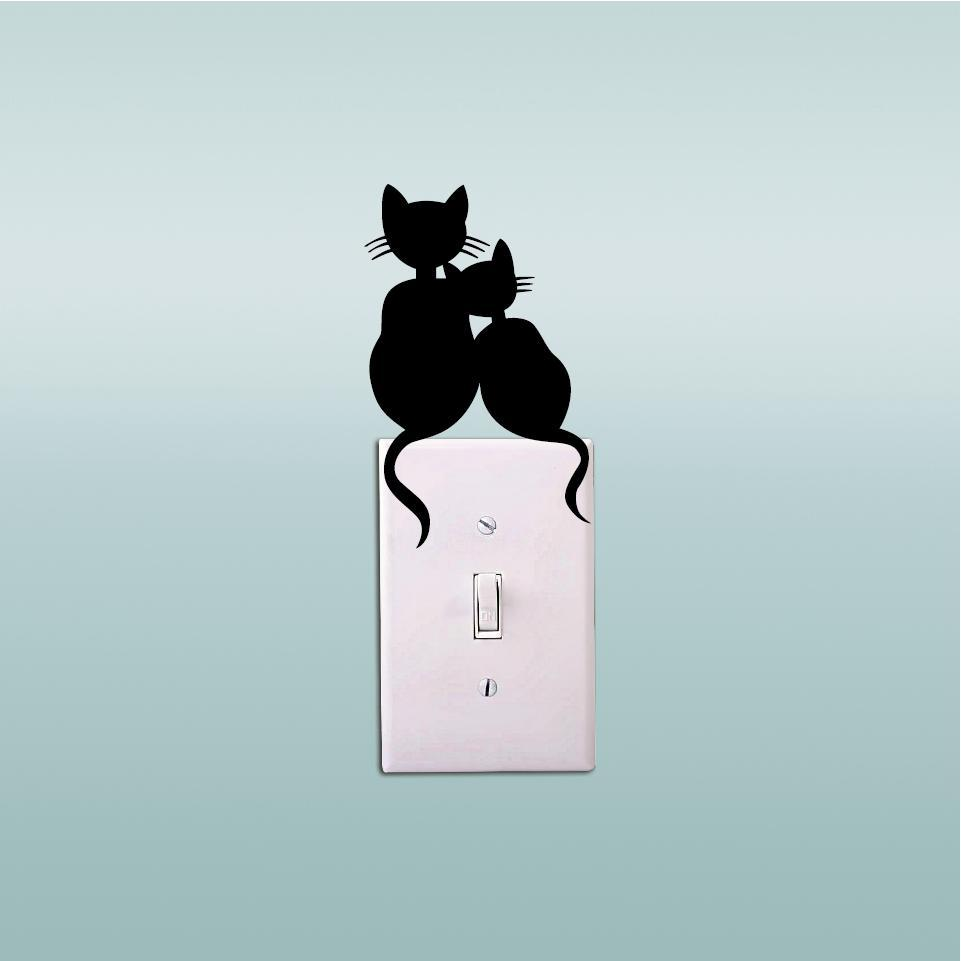 cutecatslovers Cats Couple Switch Sticker - Cute Cat Vinyl Wall Decal