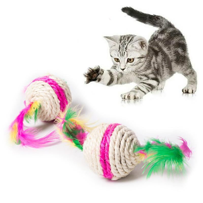 cutecatslovers Colorful Cat Toy Ball Interactive Chewing Rattle Sound