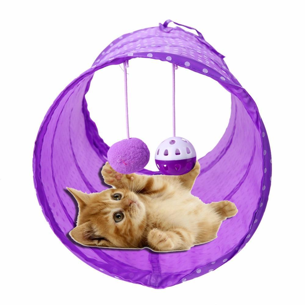 cutecatslovers Colorful Striped Playing Tunnel With Balls for Cats