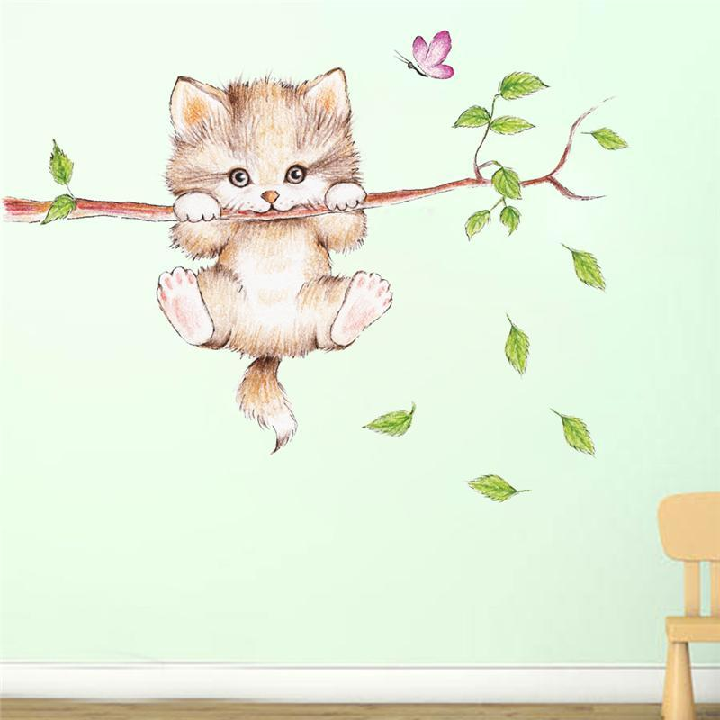 cutecatslovers Cute Cat Butterfly Tree Branch Wall Stickers For Kids Room