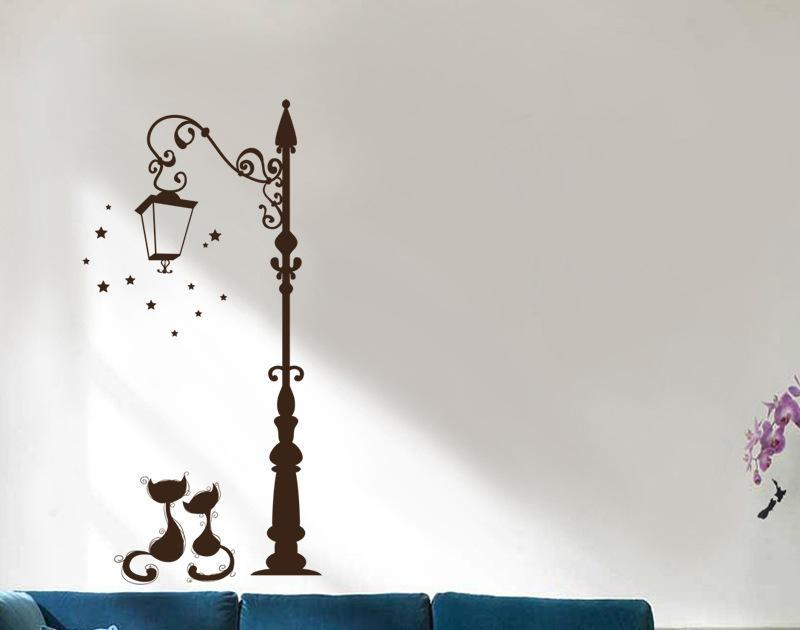 cutecatslovers Cute Cat Fashion Wall Stickers Couple at Street Lamp