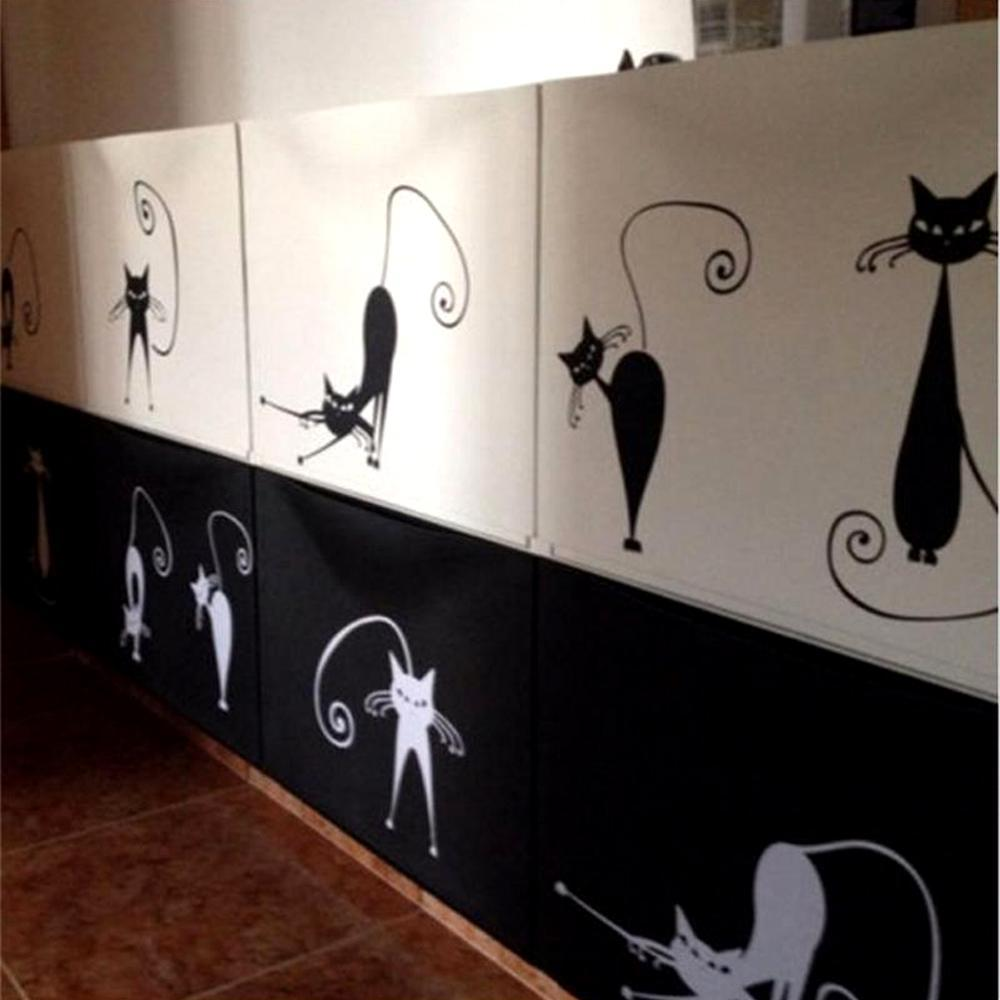 cutecatslovers Cute Cat Wall Stickers , set of 5 Funny Cute Cat Vinyl Wall Stickers