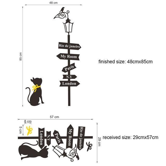 cutecatslovers D-30X60CM Large Cats Wall Sticker with Street Lamp and Birds