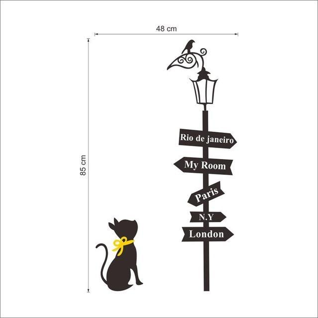 cutecatslovers Default Title Creative Cities Sign with Cat and Bird on The Lamp