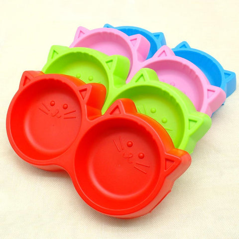 cutecatslovers Double Cat Food Bowl Made From Plastic, Hot Colors