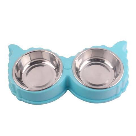 cutecatslovers Dual Cat Shaped Stainless Steel, Cartoon Shape Watering / Feeding Bowl