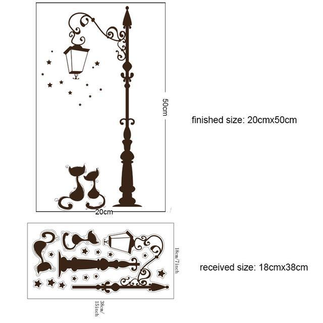 cutecatslovers E-20X40CM Large Cats Wall Sticker with Street Lamp and Birds
