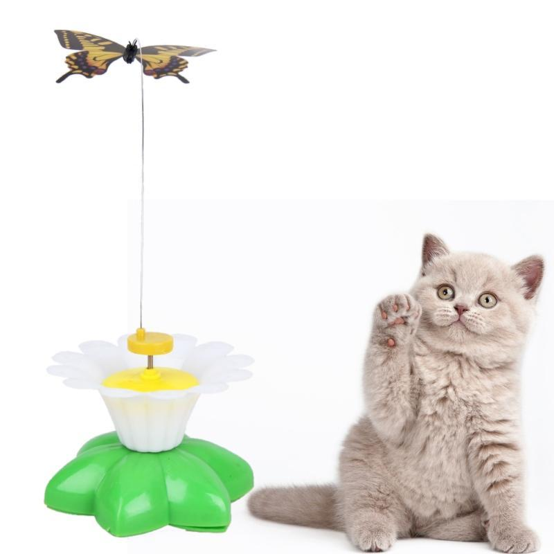 cutecatslovers Electric Rotating Colorful Butterfly Funny Cat Toy