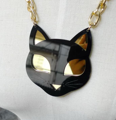 cutecatslovers Fashion Metal Gold Chain Acrylic Black Cat Necklace
