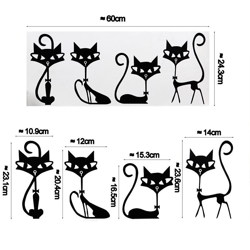 cutecatslovers Fashion Wall Stickers Four Black Cat Stickers Living Room Wall Decor
