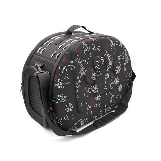 cutecatslovers flower black Cat Carrier Bag, Awesome Design With Cat Print