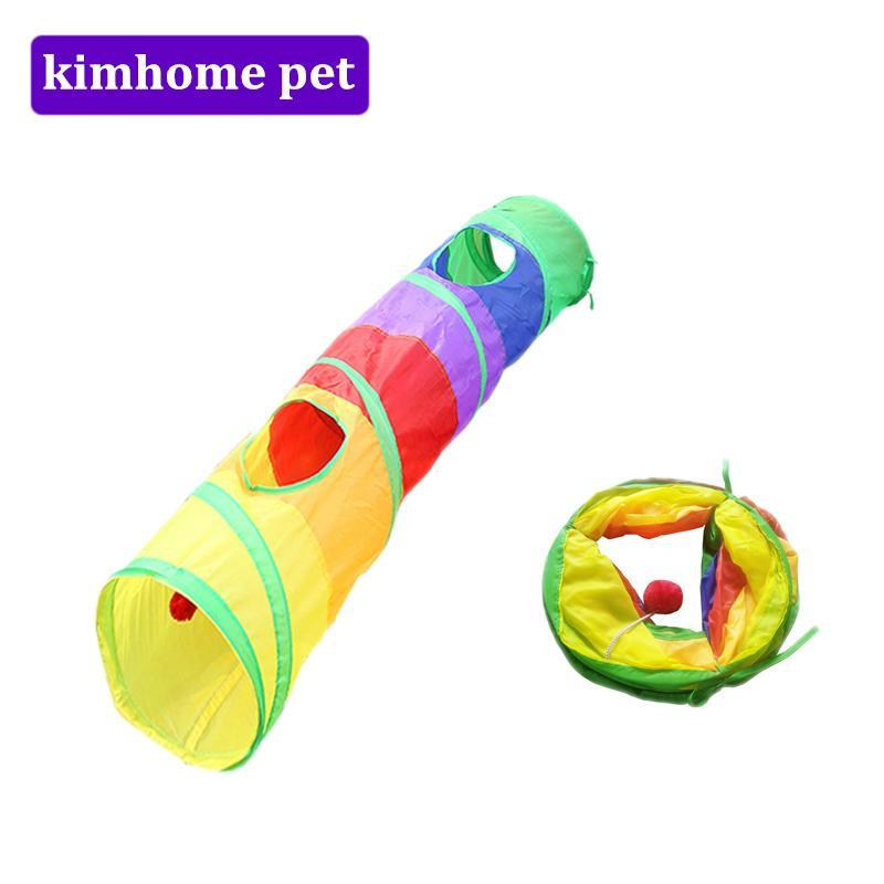 cutecatslovers Funny Pet Tunnel for Cat - Foldable, Colorful with two Holes