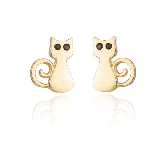 cutecatslovers Gold-color Lovely Cat Long Tail Earrings Best for a Gift of Yourself