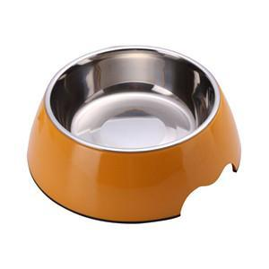 cutecatslovers Gold / S Solid Melamine Plastic Stainless Steel Cat Feeding / Water Bowl