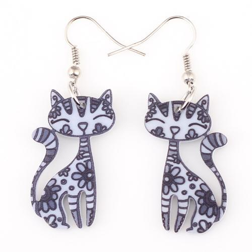 cutecatslovers gray Funky Cat Earrings Dangle Long Acrylic Pattern