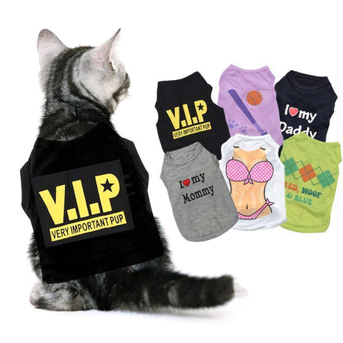 cutecatslovers Great Motives Cat Clothes - VIP, I Love My Mommy / Daddy and a lot more