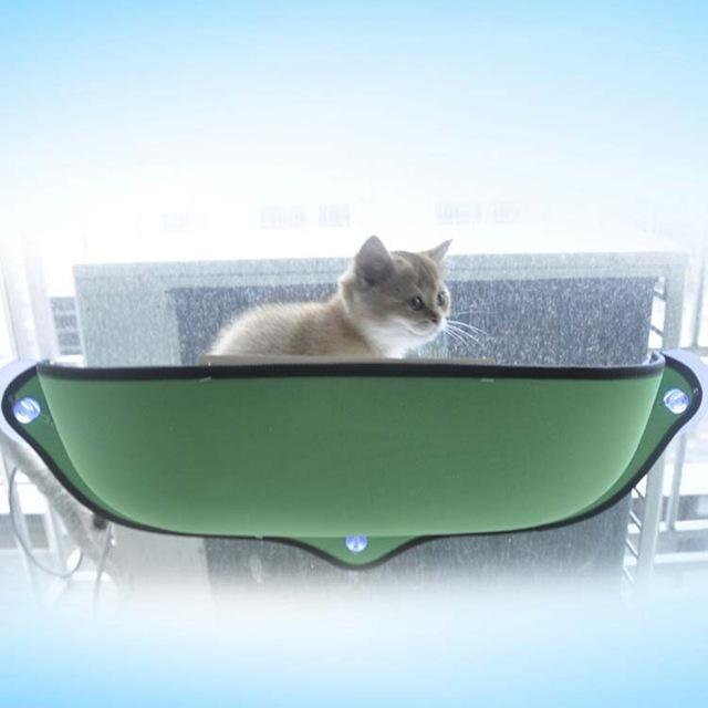 cutecatslovers Green / 68 X 28 cm Hammock Cat Window Bed Lounger Sofa Cushion with Suction Cups for Easy Apply