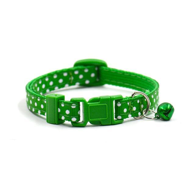 cutecatslovers Green / Adjustable Adjustable Dot Printed Cat Collar in Cute Colors