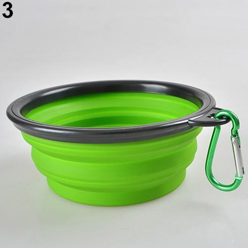 cutecatslovers Green Foldable Travel Food Feeding Bowl for Cat made from Silicone