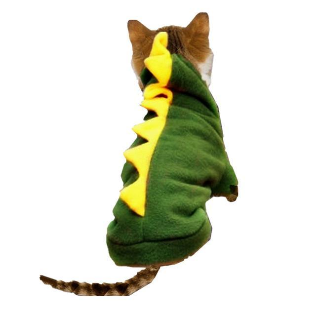 cutecatslovers Green / L Warm Cat Clothes With Dinosaur Motive is a Great Gift For Your Cat