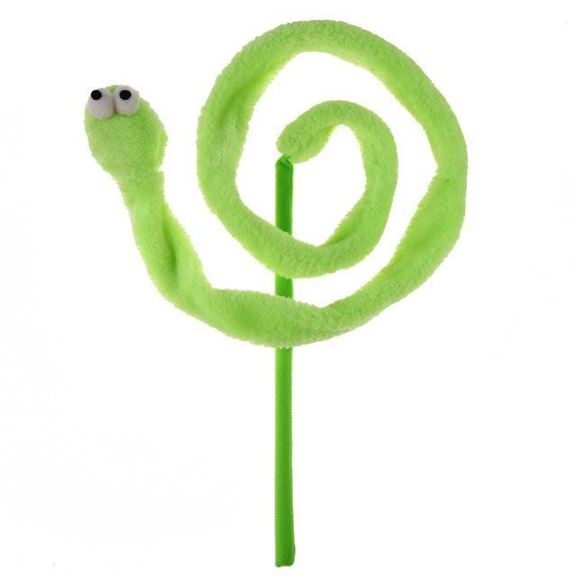 cutecatslovers Green / M Cartoon Snake Cat Stick Plush Toy Mint Sound Teaser