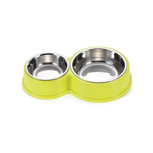 cutecatslovers Green / M Stainless Steel Cat Feeding and Watering Bowls Two in One, Anti-slip Bowl