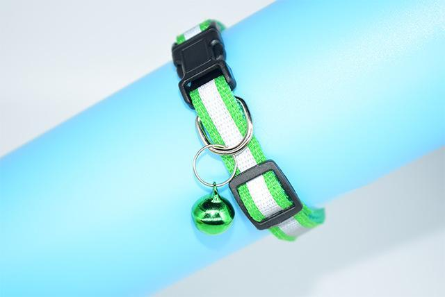 cutecatslovers Green / S Adjustable Safety Buckle Bell Strap Cat Collar in Multiple Colors