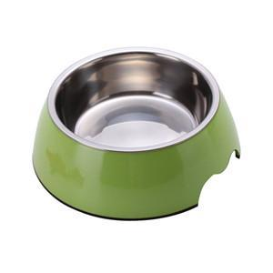 cutecatslovers Green / S Solid Melamine Plastic Stainless Steel Cat Feeding / Water Bowl