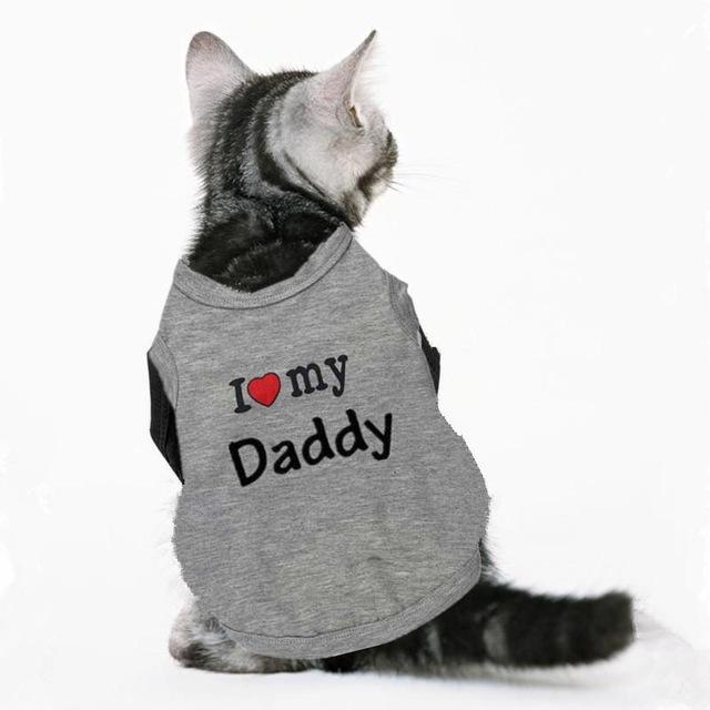cutecatslovers grey daddy / XS Great Motives Cat Clothes - VIP, I Love My Mommy / Daddy and a lot more