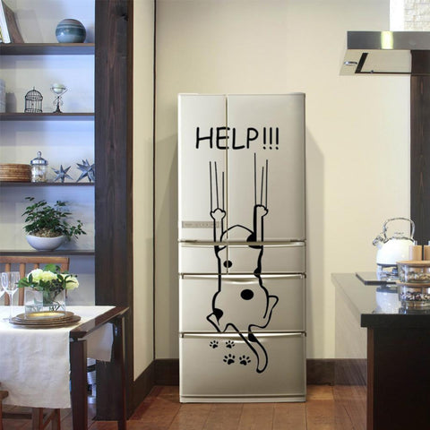 "cutecatslovers ""Help!!!"" Funny Cartoon Cute Cat Quote Refrigerator DIY Wall Sticker"
