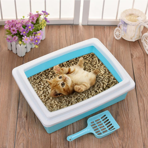 cutecatslovers Hot Cat Bedpans Candy Color Cat Sand Basin Set Detachable Toilet for Cats