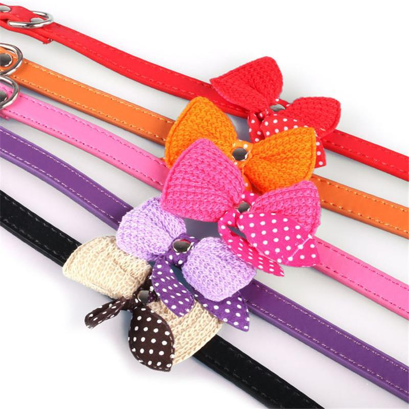 cutecatslovers Knit Bowknot Adjustable PU Leather Cute Collar for Cat