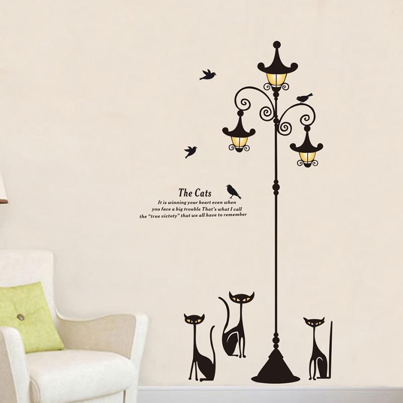 cutecatslovers Large Cats Wall Sticker with Street Lamp and Birds