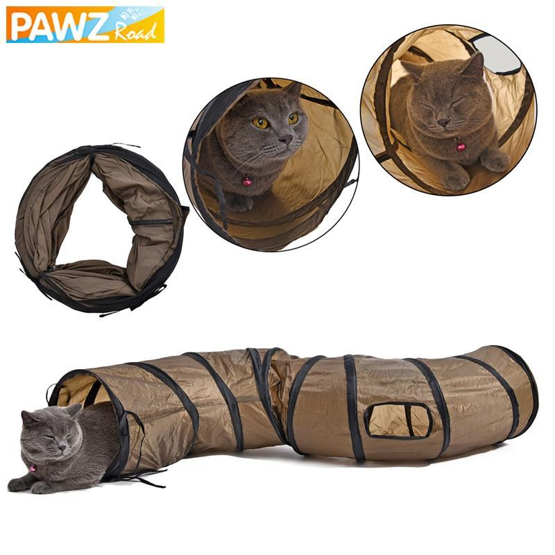 cutecatslovers Long 1.2M Cat Tunnel With Two Holes and Windows