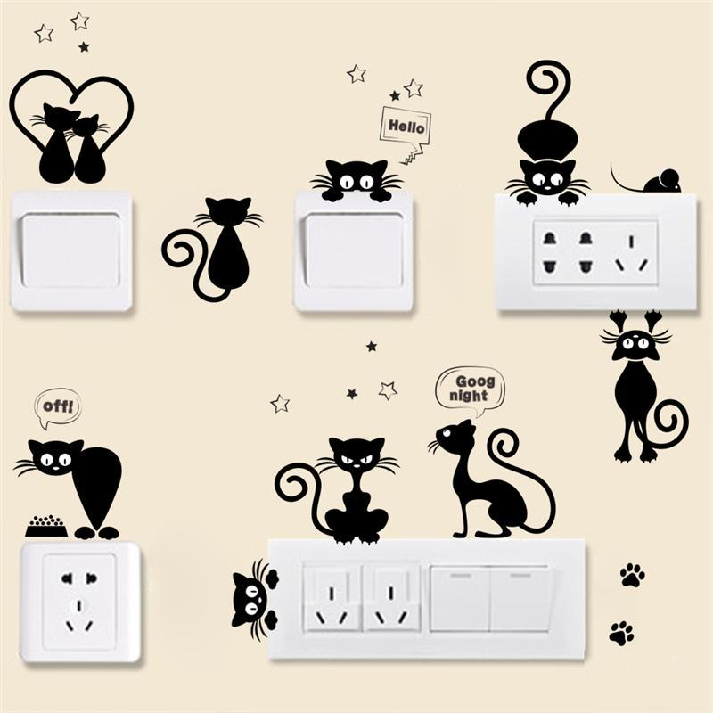 cutecatslovers Lovely Cat Light Switch, For Phone Wall Stickers, And for Kids
