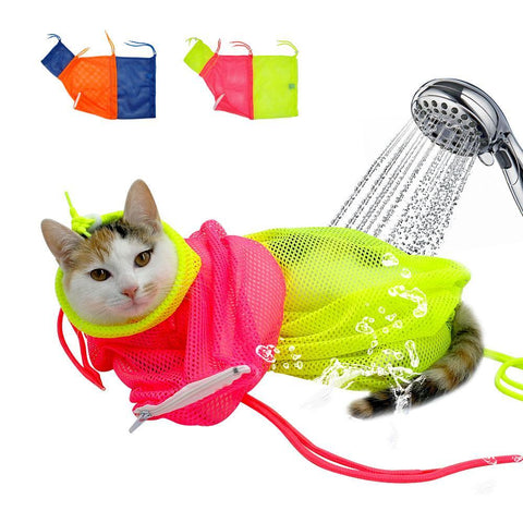 cutecatslovers Mesh Adjustable Cat Grooming Bath Bag, Suitable for Bathing, Nail Trimming and it's also Scratch & Bite resistant