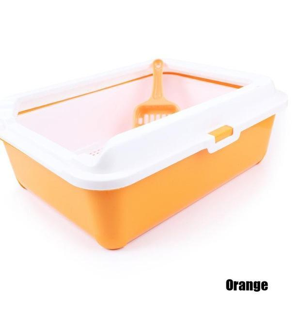 cutecatslovers Orange / 43cm x 31cm x 15cm High-end Cat Toilet Closed Prevent sand throwing WC Cat Toilet, Cats Litter Box Safe and nontoxic
