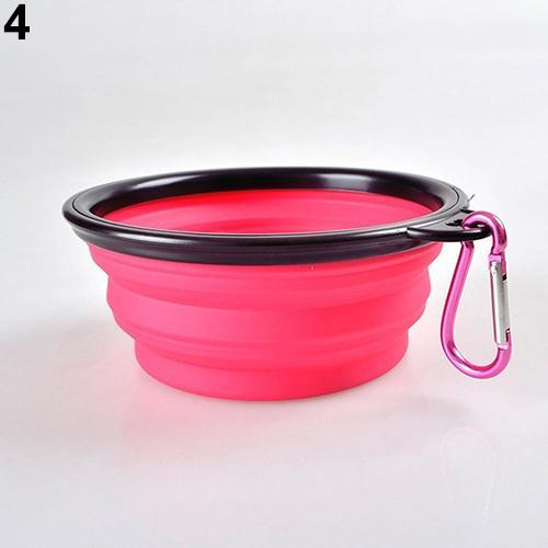 cutecatslovers Pink Foldable Travel Food Feeding Bowl for Cat made from Silicone