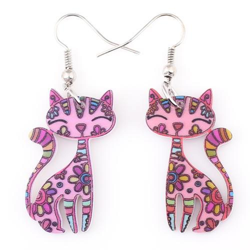 cutecatslovers pink Funky Cat Earrings Dangle Long Acrylic Pattern