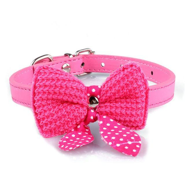 cutecatslovers Pink Knit Bowknot Adjustable PU Leather Cute Collar for Cat
