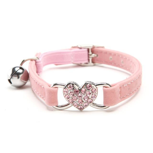 cutecatslovers Pink / S Rhinestones Heart Cat Charm Adjustable, Soft Velvet material, Multiple colors availible