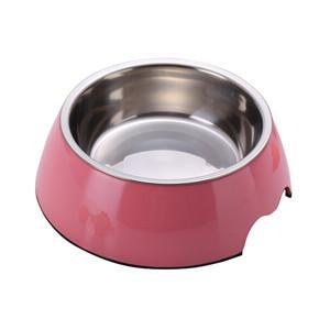 cutecatslovers Pink / S Solid Melamine Plastic Stainless Steel Cat Feeding / Water Bowl