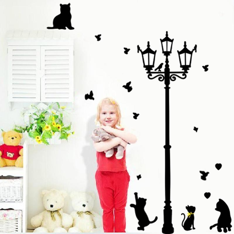 cutecatslovers Playfull Cats and Birds at Street Light (Removable)