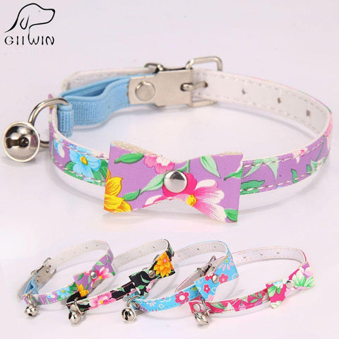 cutecatslovers PU Leather Cat Collar with Bell for Cats