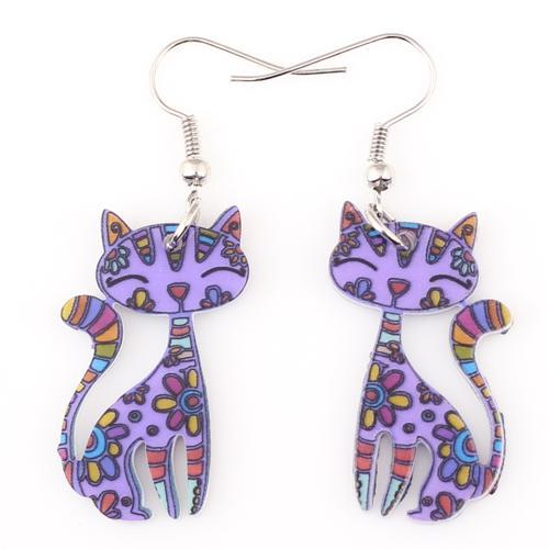 cutecatslovers purple Funky Cat Earrings Dangle Long Acrylic Pattern