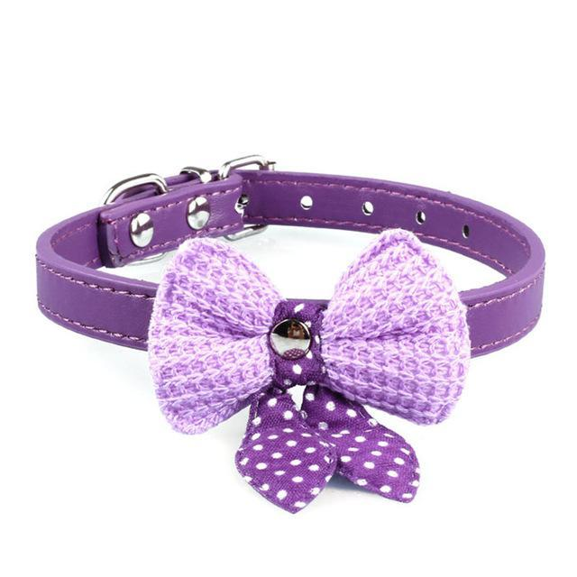 cutecatslovers Purple Knit Bowknot Adjustable PU Leather Cute Collar for Cat