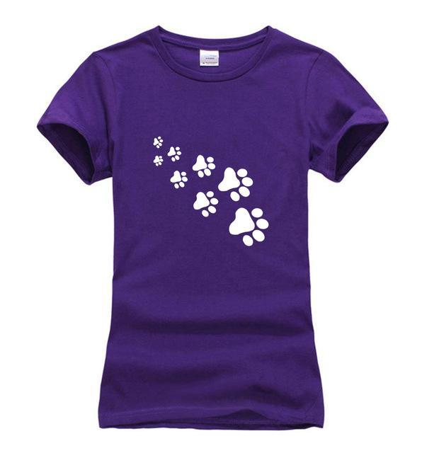 cutecatslovers Purple / S Cat Paws Fashion T-Shirt